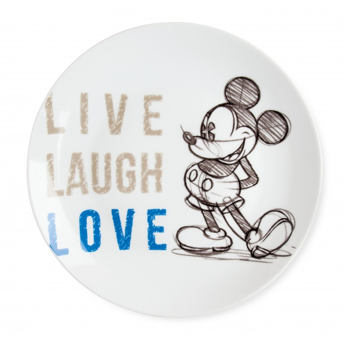 PIATTO PORTATA MICKEY LIVE LAUGH LOVE BLU D.27