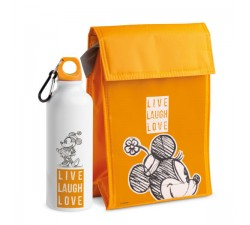 SET BORSA TERMICA E BORRACCIA MINNIE LIVE LAUGH LOVE ARANCIO