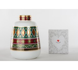 vaso h.27 cm linea cuord'oriente in porcellana finemente decorata con smalti e oro, scatola regalo inclusa. D6271