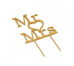 Cake topper Mr & Mrs. in colore dorato 21cm. W183